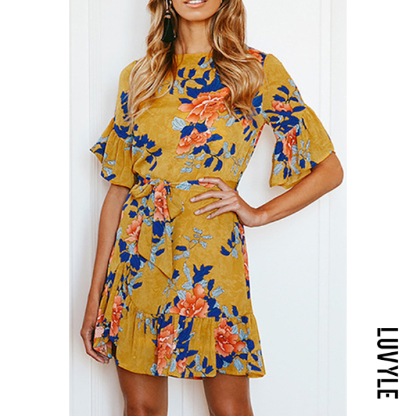 Yellow Round Neck Printed Short Sleeve Skater Dresses Yellow Round Neck Printed Short Sleeve Skater Dresses