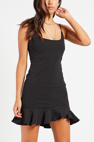 Spaghetti Strap  Asymmetric Hem  Sleeveless Bodycon Dresses
