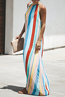 Halter  Backless  Color Block Striped  Sleeveless Maxi Dresses