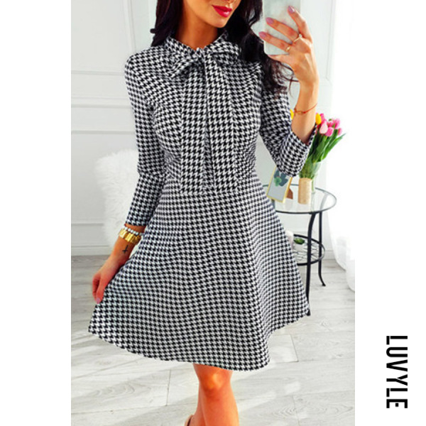 Bow Knot Printed Casual Dress