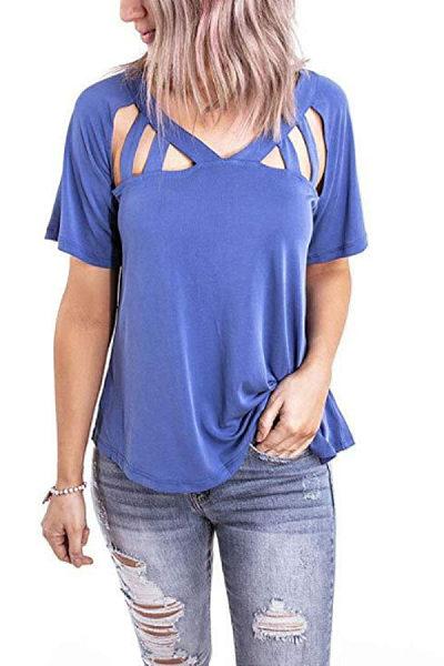 V Neck  Hollow Out Plain T-Shirts