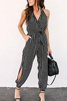 Spaghetti Strap  Backless Side Slit  Striped  Sleeveless Jumpsuits