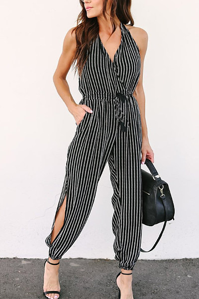 Spaghetti Strap  Backless Side Slit  Striped  Sleeveless Jumpsuits