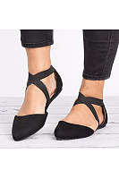 Plain  Flat  Velvet  Ankle Strap  Point Toe  Casual Date Comfort Flats