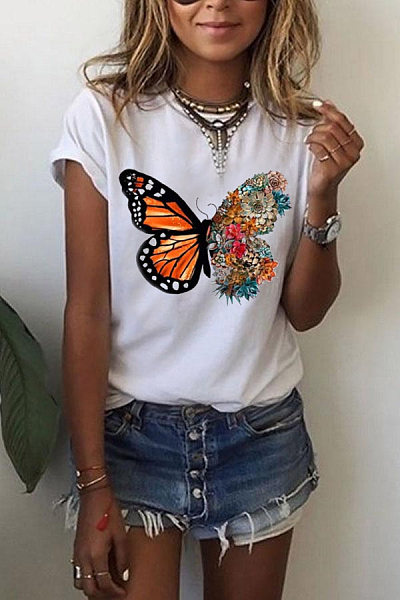 Butterfly Round Neck T-shirt