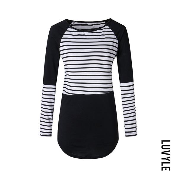 Black Round Neck Color Block Striped T-Shirts Black Round Neck Color Block Striped T-Shirts