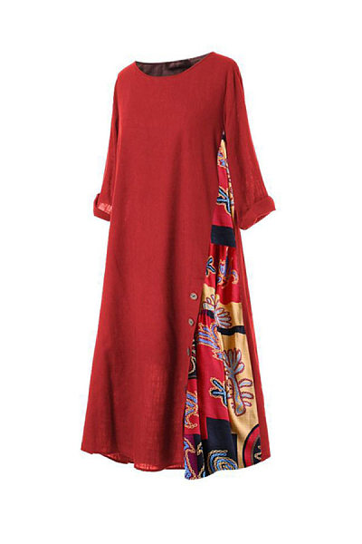 Round Neck Colouring Casual Dress