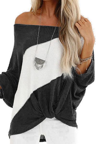 Shoulder Collar Long Sleeve Colouring T-Shirt