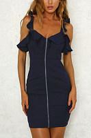 V Neck  Zipper  Plain  Sleeveless Bodycon Dresses