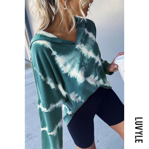 Green Women Autumn Tie-dye Casual Hoodie Green Women Autumn Tie-dye Casual Hoodie