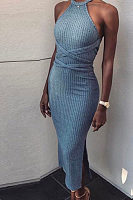 Round Neck  Side Slit  Plain Maxi Dresses