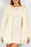 Faux Fur Collar  Loose Fitting  Plain Outerwear