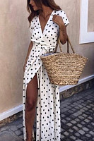Deep V Neck  Asymmetric Hem  Belt Loops  Polka Dot  Short Sleeve Maxi Dresses