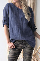 Fashion Round Collar Plain Half Sleeves Linen Shirt
