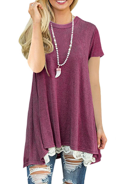 Round Neck  Asymmetric Hem  Lace Plain Casual Dresses
