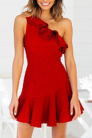 One Shoulder  Ruffled Hem  Plain  Sleeveless Bodycon Dresses