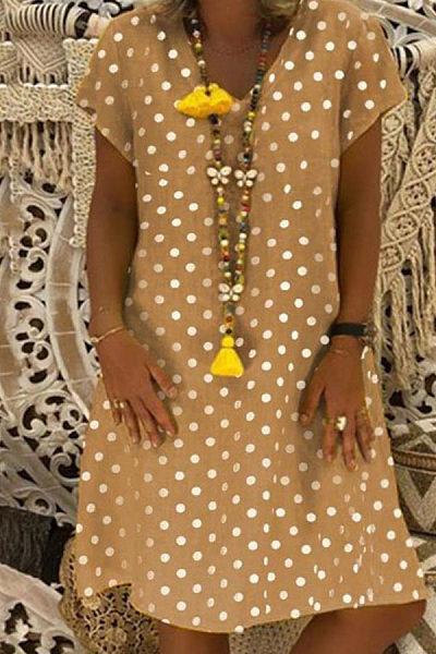 V Neck  Dot  Short Sleeve Casual Dresses