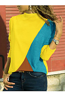 Band Collar  Patchwork  Color Block Patchwork T-Shirts