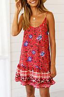Spaghetti Strap  Flounce  Print Casual Dresses