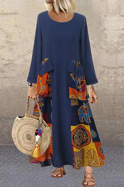 Round Neck Pockets Printed Maxi Dress