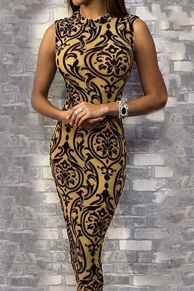 Round Neck  Leopard Printed  Sleeveless Bodycon Dresses