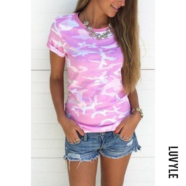 Pink Round Neck Camouflage T-Shirts Pink Round Neck Camouflage T-Shirts