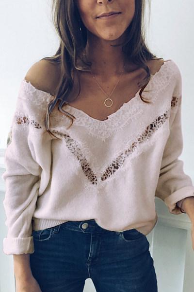 V Neck Decorative Lace Plain T-Shirt