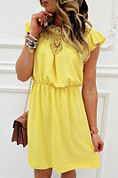 Round Neck  Lace Plain  Short Sleeve Casual Dresses