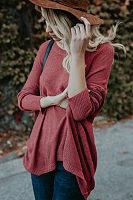 Asymmetric Hem  Plain  Batwing Sleeve Sweaters