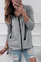 Hooded  Zipper  Plain  Casual Hoodies