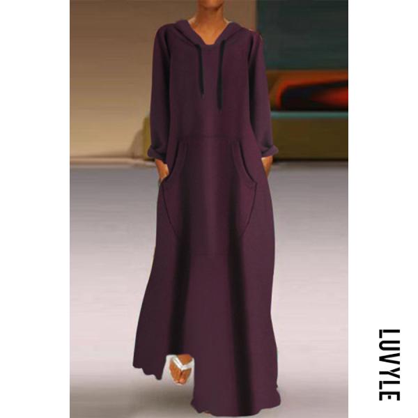 Claret Hoodied Long Sleeve Pockets Plain Maxi Dress Claret Hoodied Long Sleeve Pockets Plain Maxi Dress