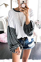 Round Neck  Patchwork  Lantern Sleeve T-Shirts