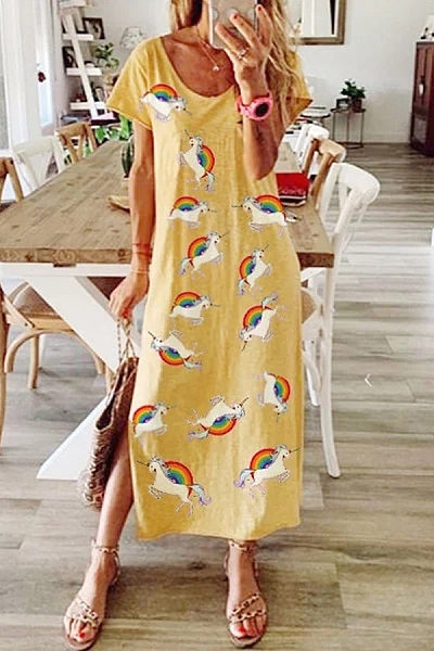 Casual Plus Size Printed Short Sleeve Dress