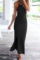 Halter  Backless Slit  Plain  Sleeveless Maxi Dresses