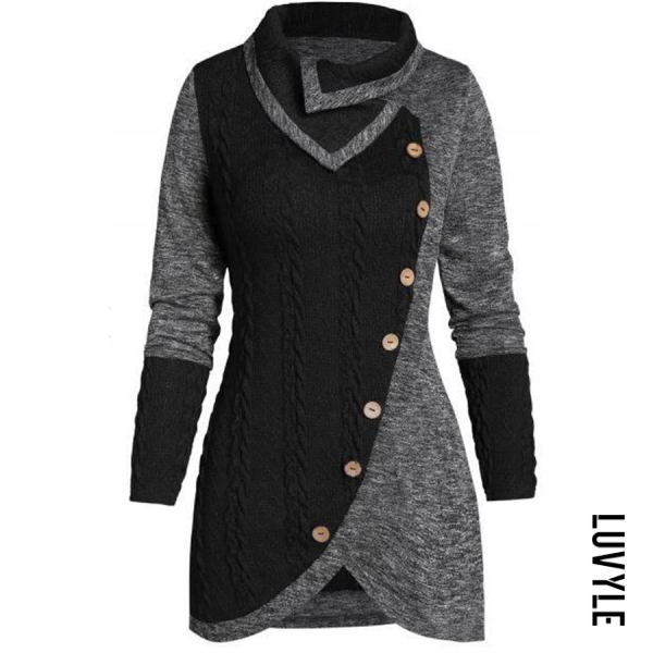 Women's casual long sleeve button decorative stitching irregular sweater - from $28.00