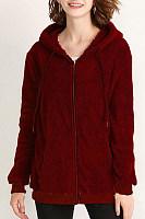 Hooded  Drawstring  Plain Outerwear