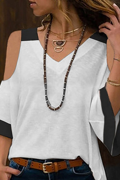 Casual V Neck Coloring T-Shirt