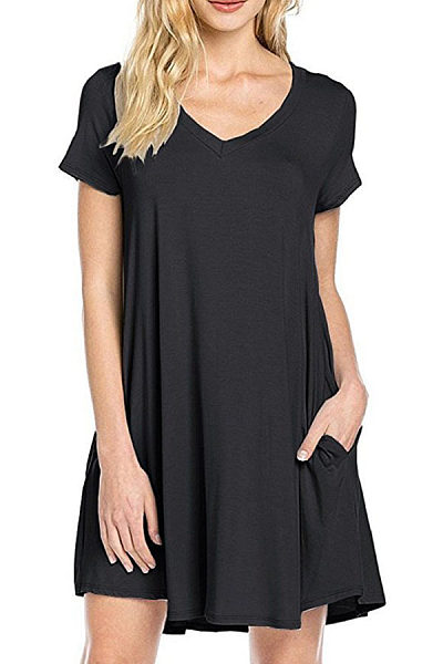V Neck  Asymmetric Hem Slit Pocket  Plain  Short Sleeve Casual Dresses