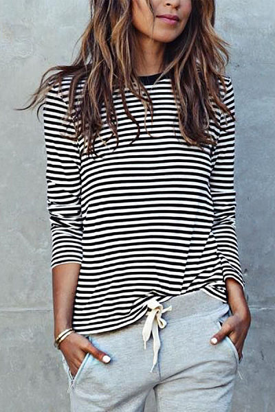 Casual Striped Loose  Long Sleeve Blouse T-Shirts
