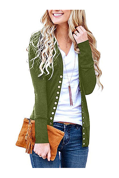 Double Breasted  Plain  Basic Cardigans