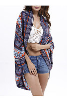 Snap Front  Printed Casual Cover Ups
