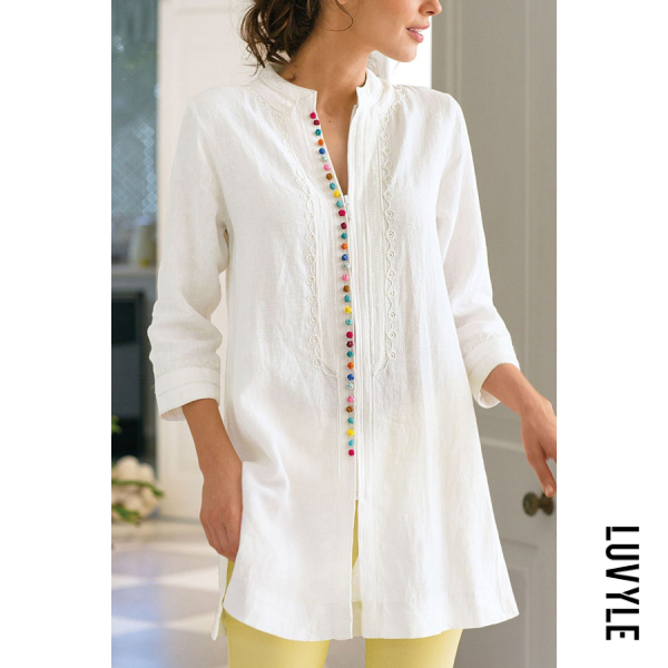 Decorative Colouring Buttons Long Sleeve Blouse - from $30.00