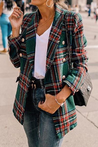 Fold Over Collar  Checkered Blazers