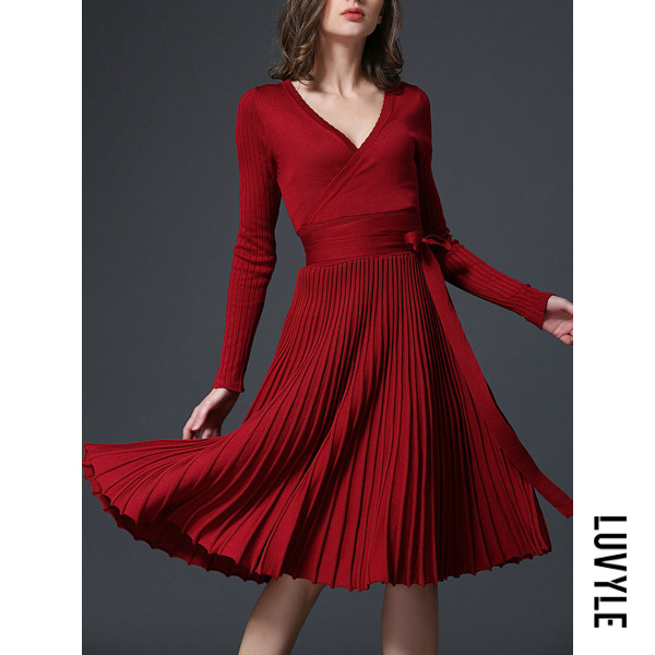 Claret Red Deep V-Neck Bowknot Plain Knitted Pleated Skater Dress Claret Red Deep V-Neck Bowknot Plain Knitted Pleated Skater Dress