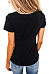 Round Neck  Cutout  Plain T-Shirts