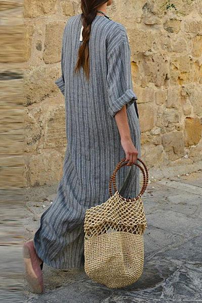 V Neck  Kangaroo Pocket  Striped  Three Quarter Sleeve Maxi Dresses