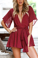 Deep V Neck  Backless  Belt  Dot  Half Sleeve  Playsuits