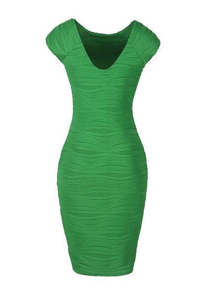 Plain V-Neck  Blend Bodycon Dress