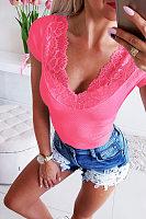 V Neck Lace Patchwork Plain T-Shirts