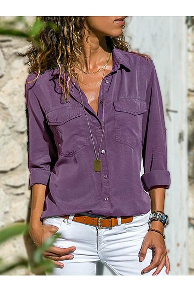 Womens Simple Lapel Shirt